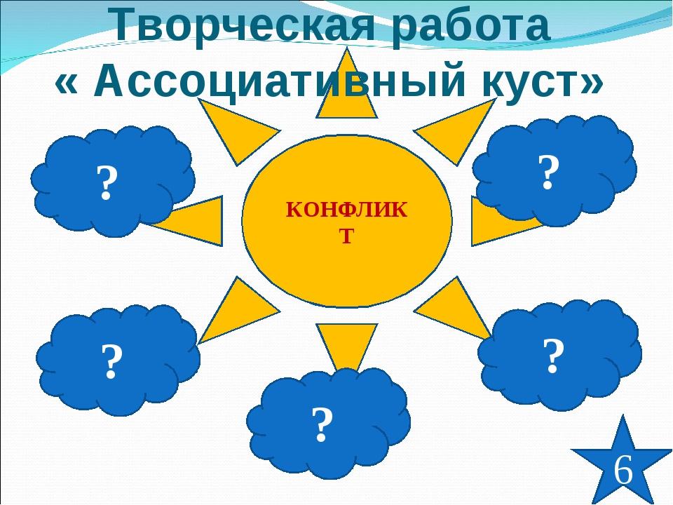КОНФЛИКТ Творческая работа « Ассоциативный куст» ? ? ? ? ? 6