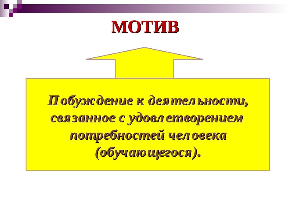 МОТИВ Побуждение к деятельности, связанное с удовлетворением потребностей чел...