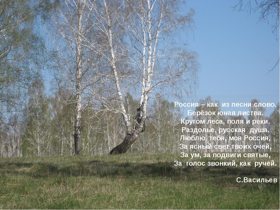 е Россия – как из песни слово. Берёзок юная листва. Кругом леса, поля и реки....
