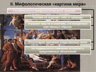 II. Мифологическая «картина мира» Особенности мифологического знания Человек