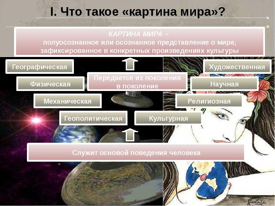 I. Что такое «картина мира»? КАРТИНА МИРА – полуосознанное или осознанное пре...