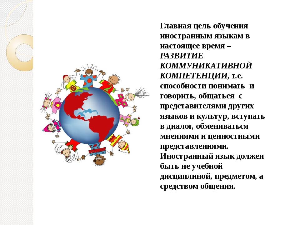 Главная цель обучения иностранным языкам в настоящее время – РАЗВИТИЕ КОММУНИ...