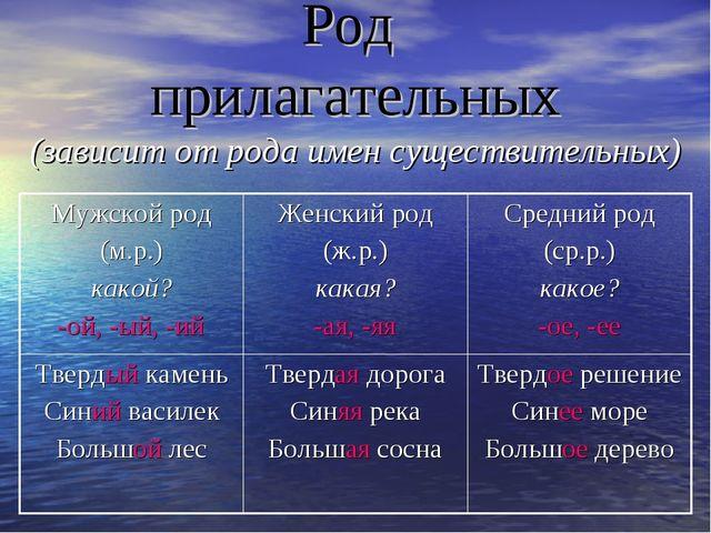 Род прилагательных (зависит от рода имен существительных)