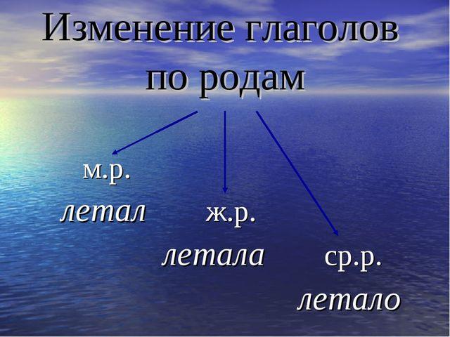 Изменение глаголов по родам м.р. летал ж.р. летала ср.р. летало