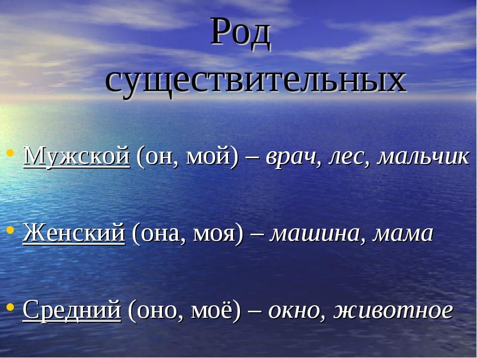 Род существительных Мужской (он, мой) – врач, лес, мальчик Женский (она, моя)...