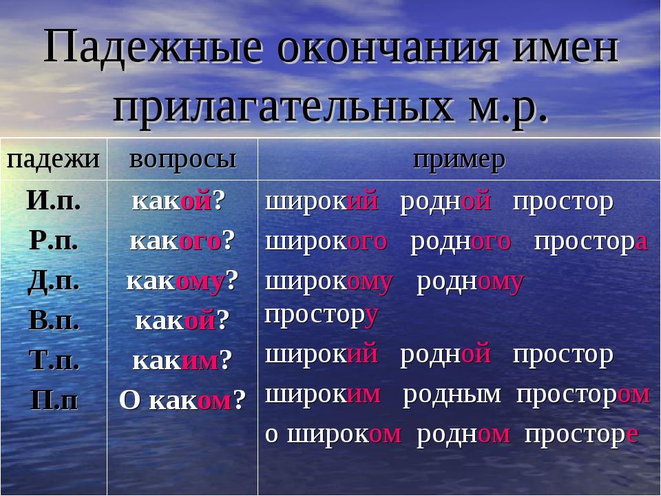 Падежные окончания имен прилагательных м.р.