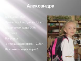 Александра Вес Саши- 18кг Правильный вес ранца-1,8 кг Вес пустого ранца-500г