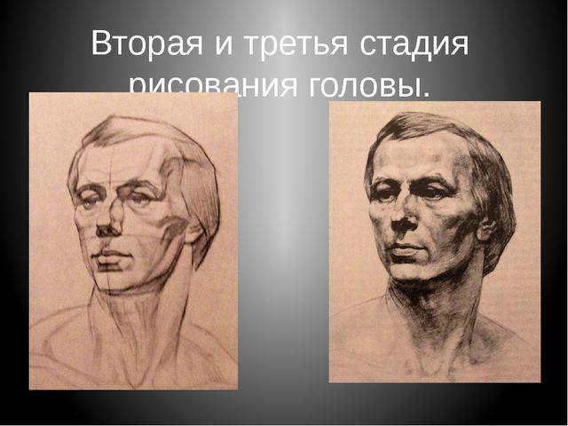 Вторая и третья стадия рисования головы.