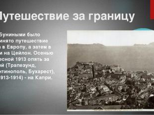 Путешествие за границу В 1910 Буниными было предпринято путешествие сначала в
