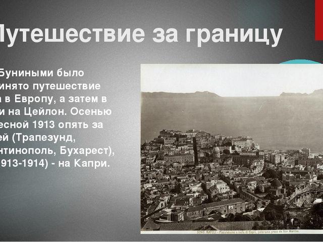 Путешествие за границу В 1910 Буниными было предпринято путешествие сначала в...
