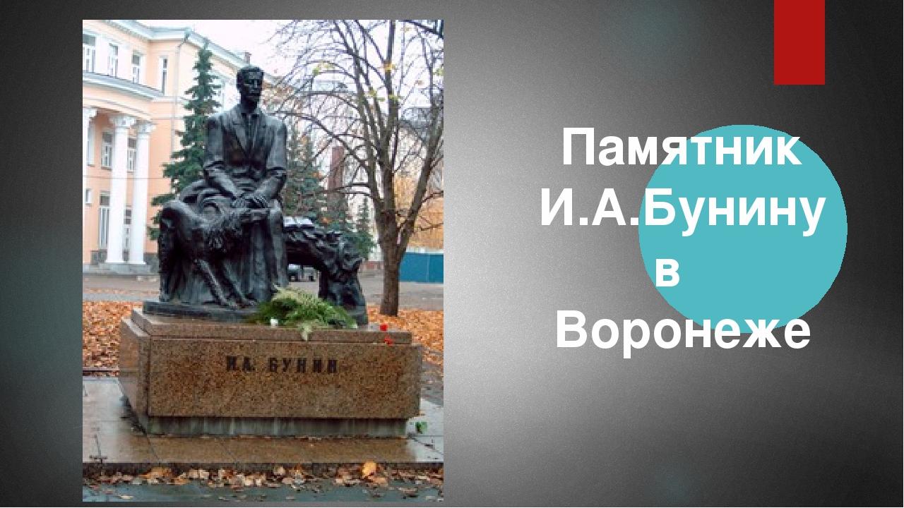Презентация по литературе Заочная экскурсия по бунинским местам  слайда 5 Памятник И А Бунину в Воронеже