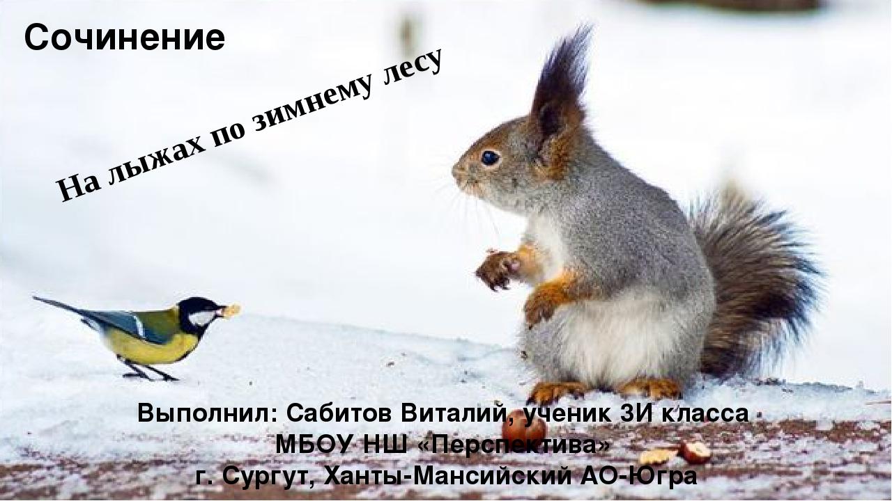 На лыжах по зимнему лесу Выполнил: Сабитов Виталий, ученик 3И класса МБОУ НШ...