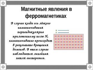 Магнитные явления в ферромагнетиках В случае когда ось лёгкого намагничивания