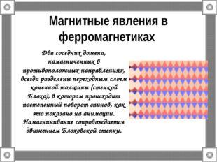 Магнитные явления в ферромагнетиках Два соседних домена, намагниченных в прот
