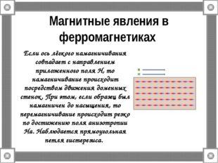 Магнитные явления в ферромагнетиках Если ось лёгкого намагничивания совпадает