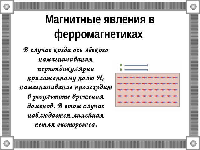 Магнитные явления в ферромагнетиках В случае когда ось лёгкого намагничивания...