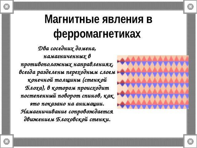 Магнитные явления в ферромагнетиках Два соседних домена, намагниченных в прот...