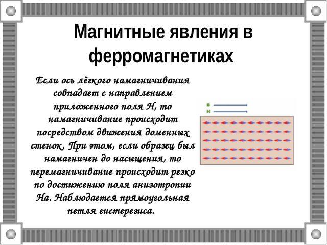 Магнитные явления в ферромагнетиках Если ось лёгкого намагничивания совпадает...