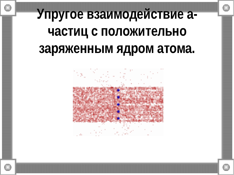 Упругое взаимодействие a-частиц с положительно заряженным ядром атома.