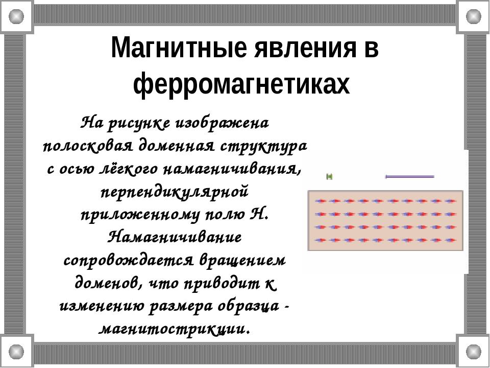 Магнитные явления в ферромагнетиках На рисунке изображена полосковая доменная...