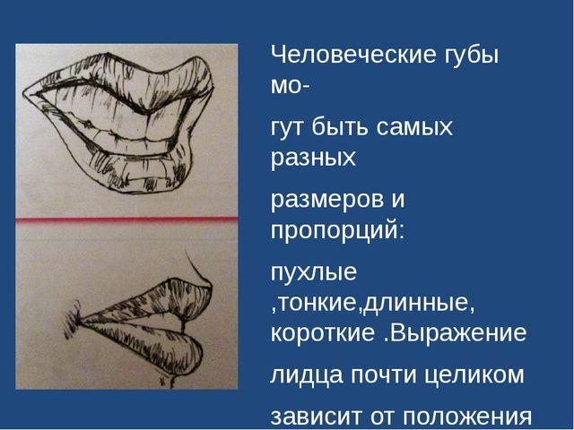Человеческие губы мо- гут быть самых разных размеров и пропорций: пухлые ,то...