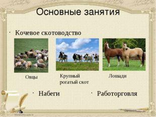 Основные занятия Кочевое скотоводство Набеги Овцы Крупный рогатый скот Лошади