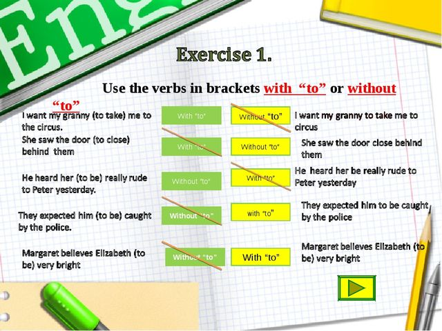 "With ""to"" Without ""to"" Use the verbs in brackets with ""to"" or without ""to"" Wi..."