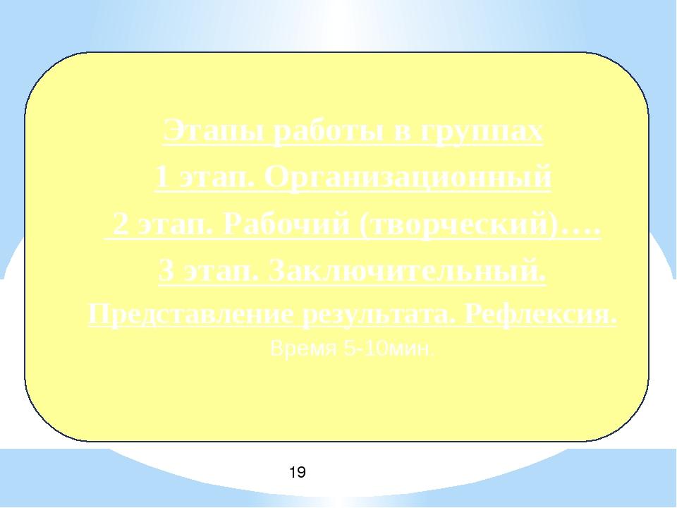 Этапы работы в группах 1 этап. Организационный 2 этап. Рабочий (творческий)…...