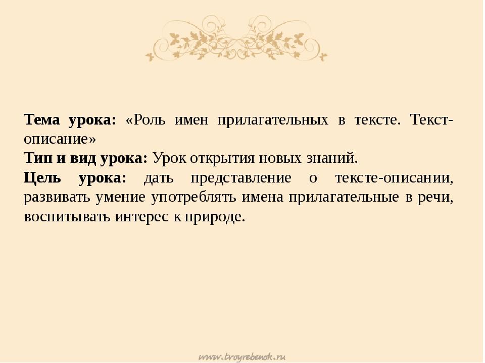 Тема урока: «Роль имен прилагательных в тексте. Текст-описание» Тип и вид ур...