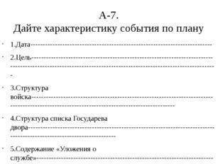 А-7. Дайте характеристику события по плану 1.Дата----------------------------