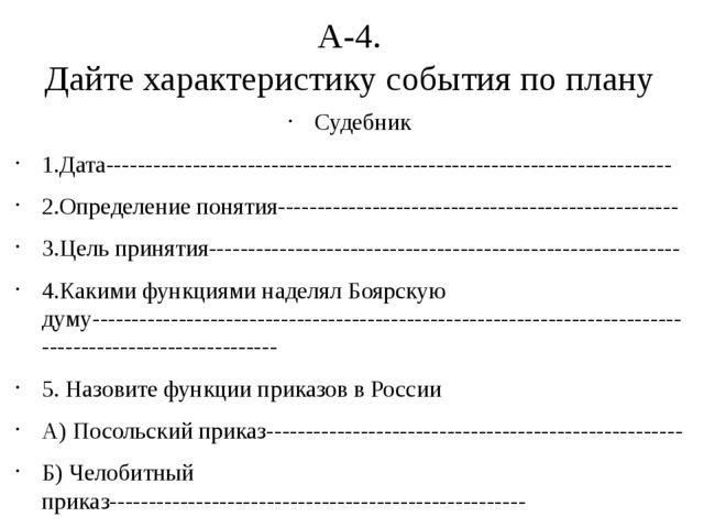 А-4. Дайте характеристику события по плану Судебник 1.Дата-------------------...