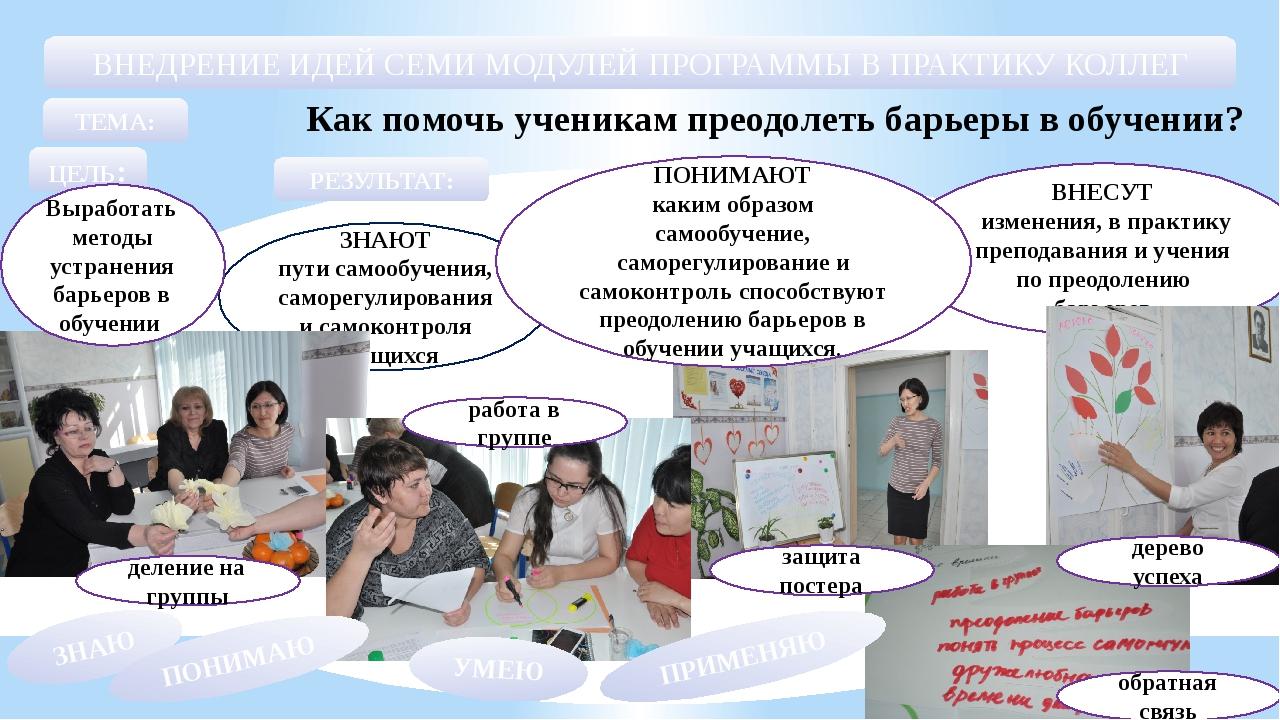 ЗНАЮТ пути самообучения, саморегулирования и самоконтроля учащихся ВНЕСУТ изм...