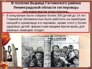В посёлке Вырица Гатчинского района Ленинградской области гитлеровцы организо