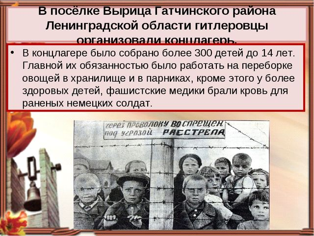 В посёлке Вырица Гатчинского района Ленинградской области гитлеровцы организо...