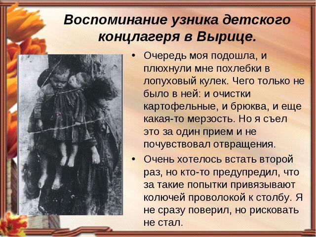 Воспоминание узника детского концлагеря в Вырице. Очередь моя подошла, и плюх...