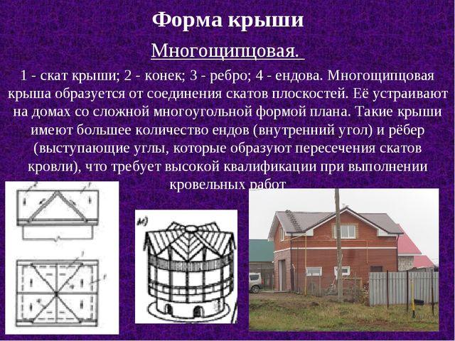 Форма крыши Многощипцовая. 1 - скат крыши; 2 - конек; 3 - ребро; 4 - ендова....