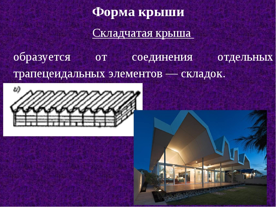 Форма крыши Складчатая крыша образуется от соединения отдельных трапецеидальн...
