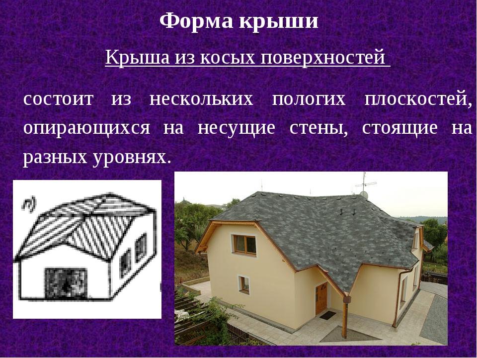 Форма крыши Крыша из косых поверхностей состоит из нескольких пологих плоскос...