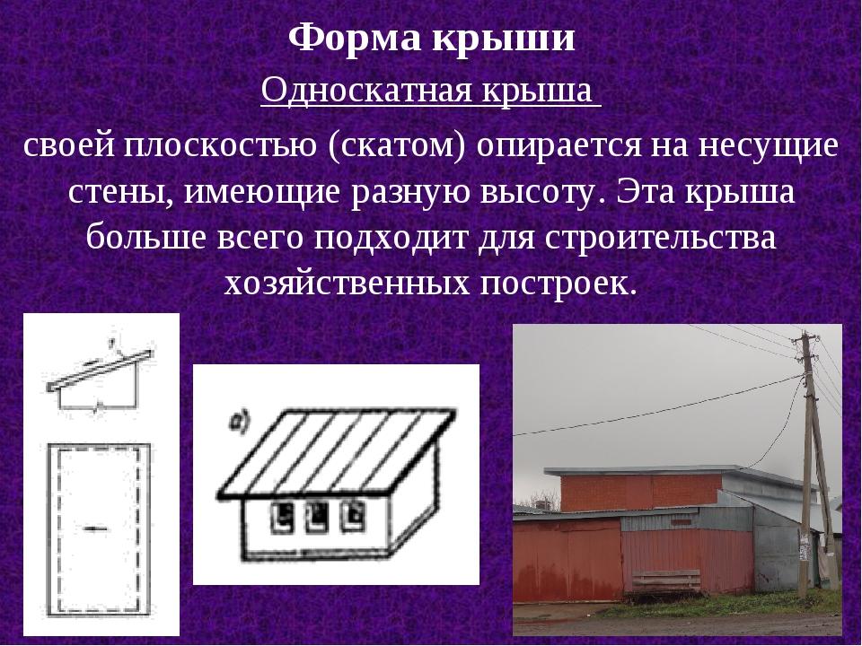 Форма крыши Односкатная крыша своей плоскостью (скатом) опирается на несущие...