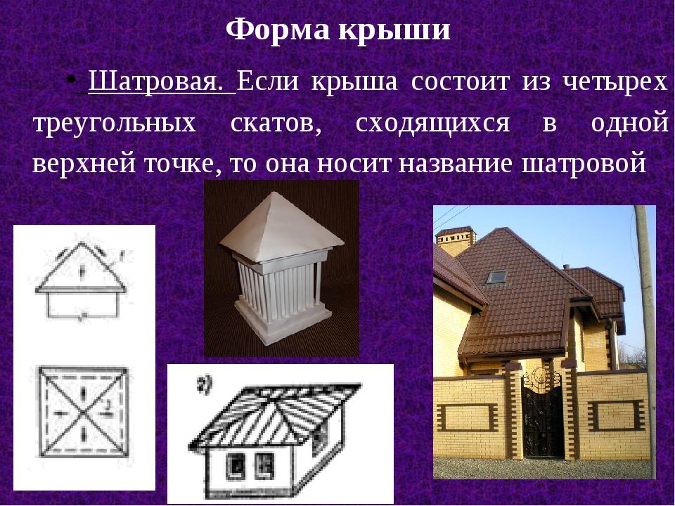 Форма крыши Шатровая. Если крыша состоит из четырех треугольных скатов, сходя...