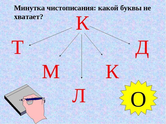 К Т Д М К Л О Минутка чистописания: какой буквы не хватает?