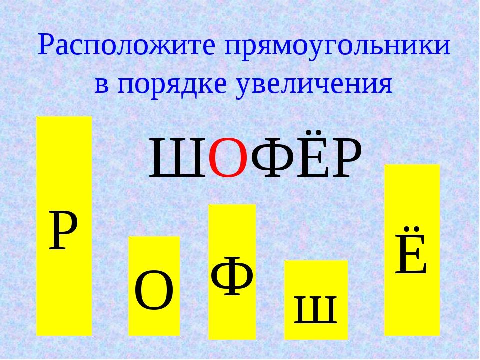 О Ф Расположите прямоугольники в порядке увеличения ШОФЁР Р ш Ё