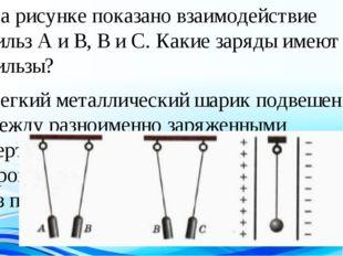 На рисунке показано взаимодействие гильз А и В, В и С. Какие заряды имеют гил
