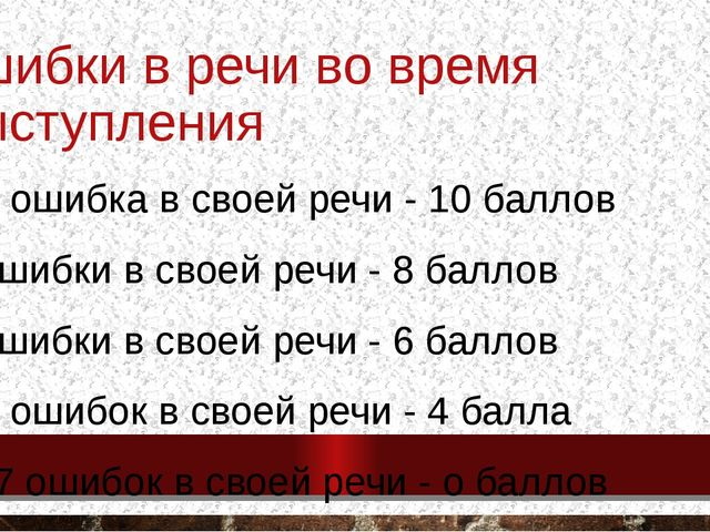 ошибки в речи во время выступления 0-1 ошибка в своей речи - 10 баллов 2 ошиб...