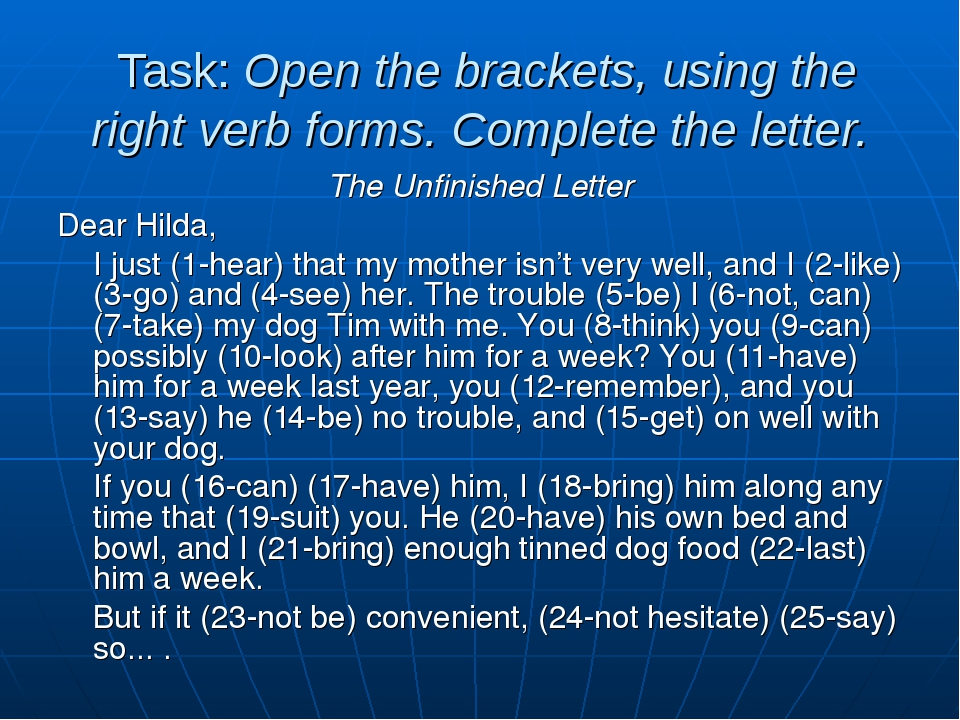 Task: Open the brackets, using the right verb forms. Complete the letter. Th...