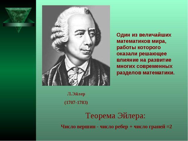 Теорема Эйлера: Число вершин - число ребер + число граней =2 Один из величайш...
