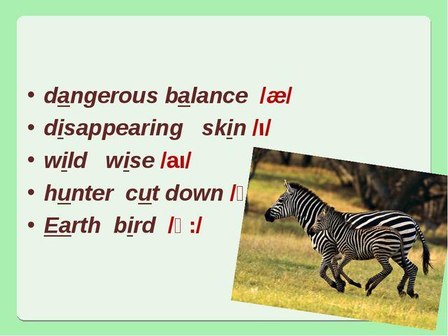 dangerous balance /æ/ disappearing skin /ı/ wild wise /aı/ hunter cut down /ʌ...