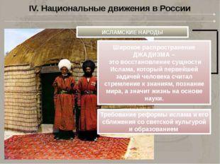 IV. Национальные движения в России ИСЛАМСКИЕ НАРОДЫ Широкое распространение Д