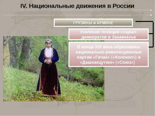IV. Национальные движения в России ГРУЗИНЫ и АРМЯНЕ Усиление позиций социал-д...