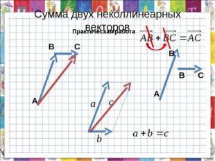 Сумма двух неколлинеарных векторов Практическая работа А В В С А В С